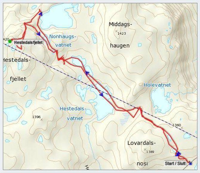 Kart: Statskart via Peakbook.org med innteikna GPS-spor av J. Asperheim