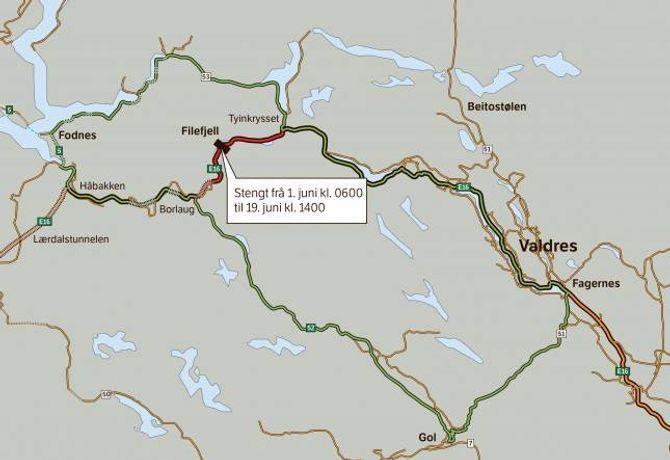 OMKØYRING: Mellom 1. juni og 19. juni er omkøyringsvegar fylkesveg53 Tyin-Årdal og riksveg 52 Hemsedalsfjellet / fylkesveg 51 Golsfjellet.Kart: Statens vegvesen