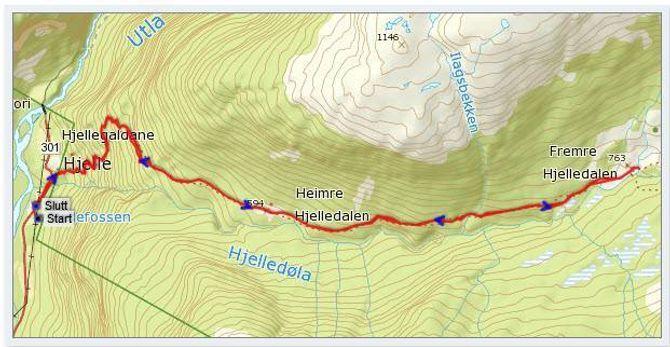 Kart: Statkart via Peakbook.org med påteikna GPS-spor av J. Asperheim.