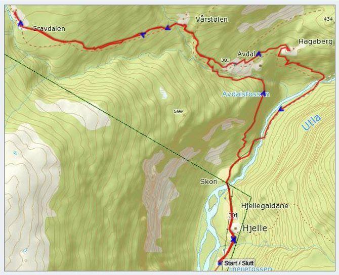 Kart: Statkart via Peakbook.org. Påteikna GPS-spor av J. Asperheim. Både normalruta og ruta om Avdalsskori er innteikna.