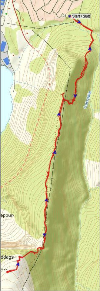 Kart: Statkart via Peakbook med innteikna GPS-spor av J. Asperheim.