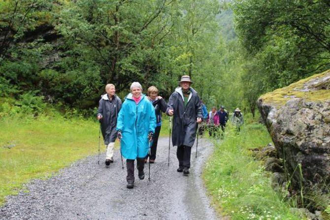 MED STAVAR I UTLADALEN: Geneviève Vlasselaer (fremst), Antoinette Timmermans (f.v), Gunvor Nordås og Guy Weber på vegen inn mot Vettis.