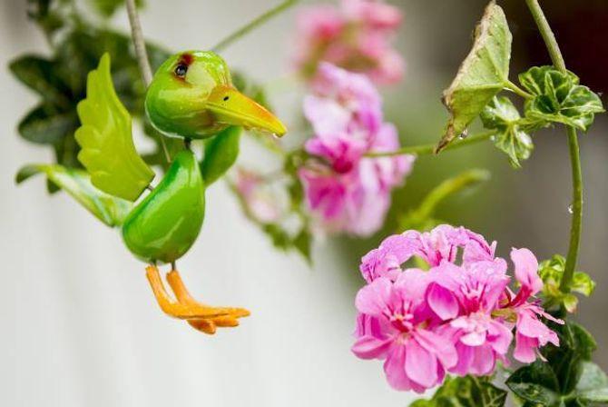 PYNT: Ein liten fugl har fått plass som ekstra dekorasjon mellom alle blomstrane.