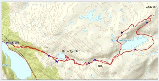 Kart: Statkart via Peakbook med påteikna GPS-spor av J. Asperheim