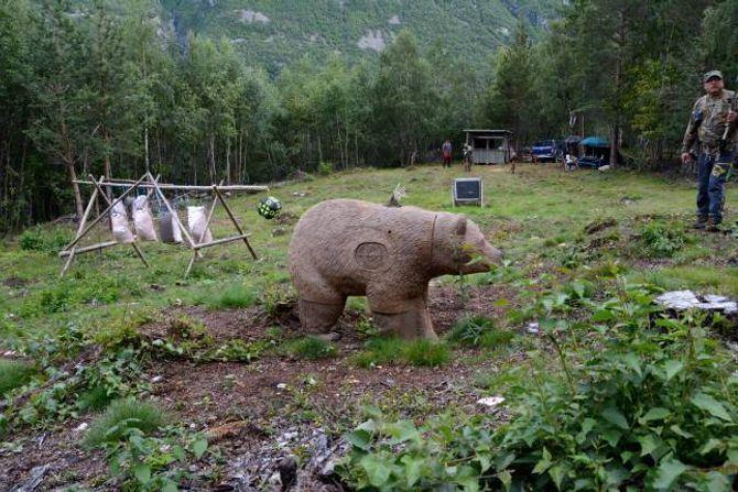 LAGAR BANE: Eikþyrnir Bogeskyttarlag har no fått på plass 13 3D-dyr på Mjøen, men det skal blir fleire.