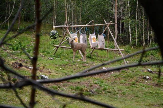 ÅTAK: Ein levande hjort gjekk til åtak på kopien, så hjorten du ser måtte limast og bli sett i saman att etter hendinga.