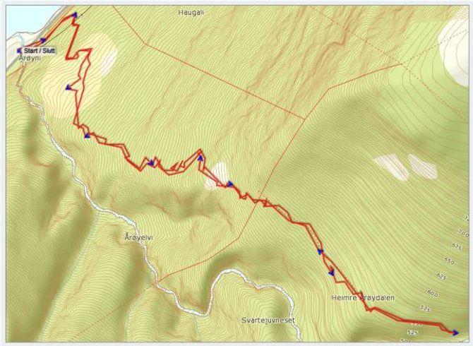 Kart: Statkart via Peakbook.org med innlagt GPS-spor av J. Asperheim. Dårleg satellittdekning gjer at det vert ein del avvik på sporet.