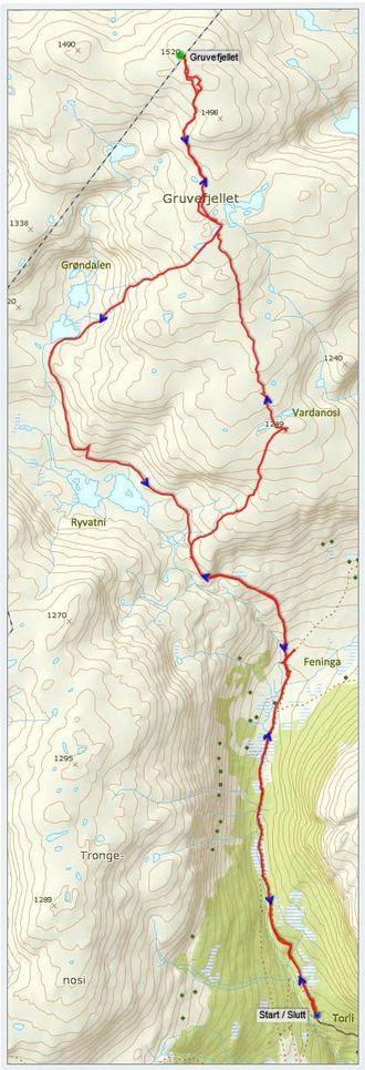 Kart: Statkart via Peakbook.org med innlagt GPS-spor og stadnamn (grøn skrift) av J. Asperheim.