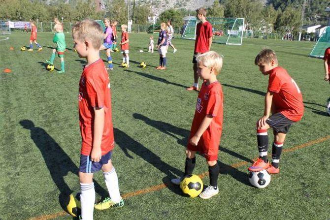 MORO: - Det er moro å spela fotball, fortel Theodor Høyheim (10) (i midten), til Porten.no