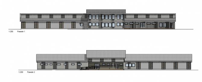 MODERNE: Det nye skytehuset og klubbhuset blir litt større enn det førre og framstår som moderne og synleg.