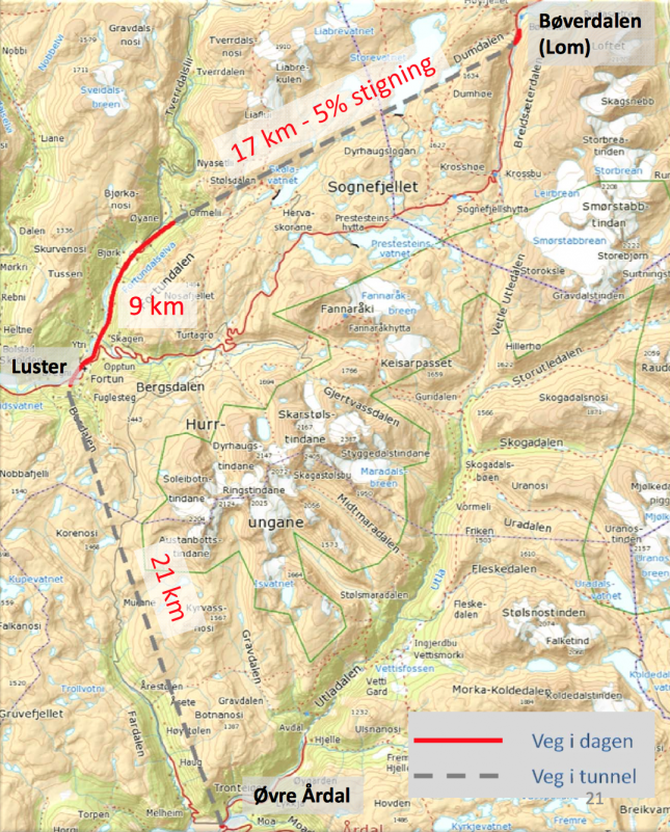 TO TUNNELAR: Slik kjem traseen til å gå med to tunnelar. Den lengste på 21 kilometer kjem ut i krysset ved Rallaren i Øvre Årdal. Teikning: Norconsult.