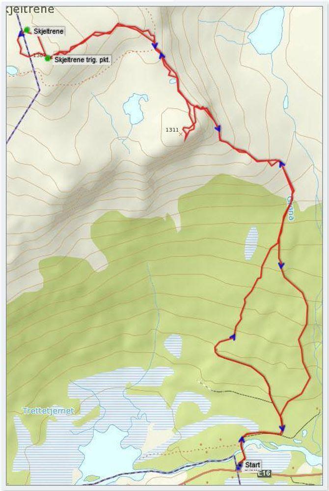 Kart: Statkart via Peakbook med innlagt GPS-spor av J. Asperheim.