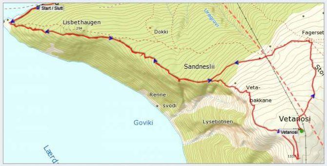 Kart: Statkart via Peakbook.org .e dpåteikna GPS-sor av J. Asperheim.