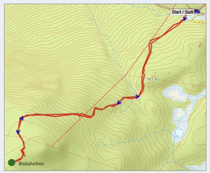 Kart: Statkart via Peakbook.org med påteikna GPS-spor og stadnamn av J. Asperheim