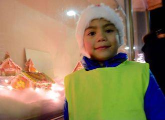 PEPARKAKE-BAKAR: Stian Langeteig (7) går i andre klasse på Tangen skule, og har laga til peparkakehus på skulen.