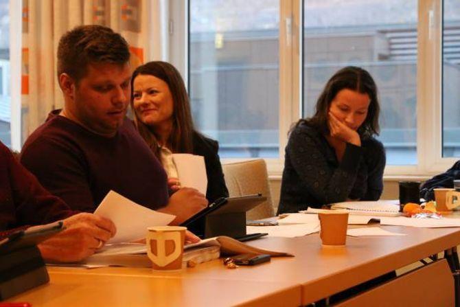 FORUNDRA: Morten Skarsbø, Marie Helene Hollevik Brandsdal (Ap) og Sandra Opheim (MDG) sat alle i valnemnda. Brandsdal i midten på biletet undrar seg for uttalen til opposisjonen.