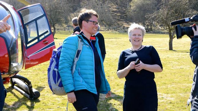 MINISTERBESØK: I april besøkte klima- og miljøminister Tine Sundtoft Vikadalen.