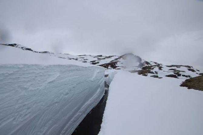 SNØ: Slik såg det ut på Aurlandsfjellet onsdag ettermiddag.