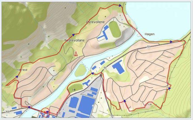 Løypekart: Statkart via peakpook.org med påteikning av GPS-track og endring av farge på fylkesveg av Jonny Asperheim