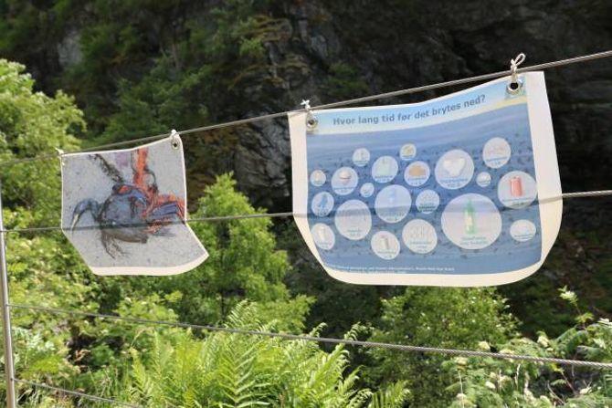 ILLUSTRASJON: Ved elva hang det plakatar som syner kor lang nedbrytningstid ulike materiale har, samt bilete av dyr som får i seg det menneske kastar i naturen.