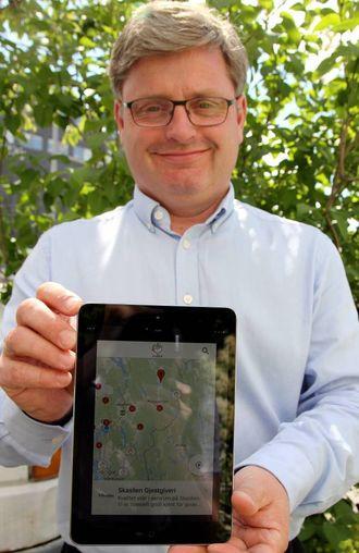 VEGVISAR: Med den nye appen vår har vi gjort det enklare for folk å finne fram til bedriftene våre, seier dagleg leiar i Hanen Bernt Bucher-Johannessen.
