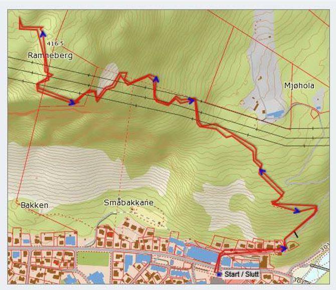 Kart: Statkart via Peakbook.org med påteikna GPS-spor av Jonny Asperheim