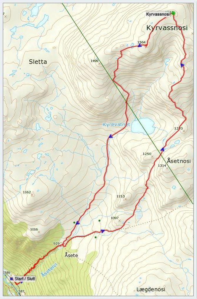 Kart: Statkart via Peakbook.org med innlagt GPS-spor av J. Asperheim