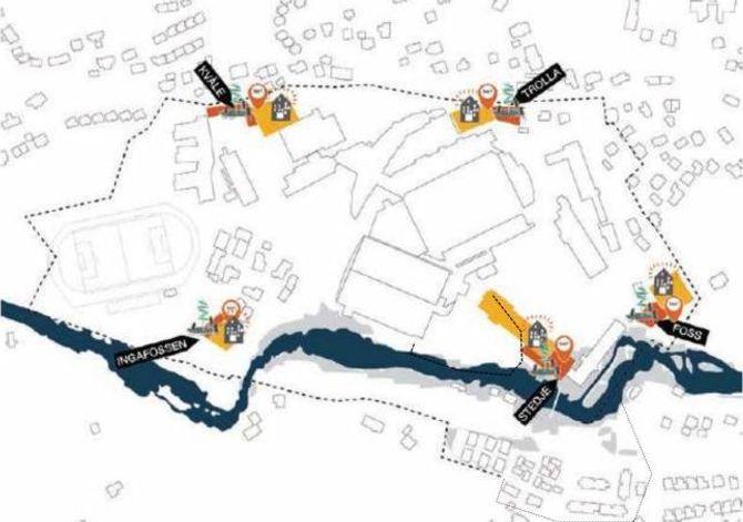 INNGANGSPORTALAR: Det er skissert forslag til fem inngangsportalar til Campus. Desse vil fungere som informasjonstorg som gjer det lettare å finne fram. På sikt er tanken at det vil koma opp signalbygg på desse strategiske plassane. Illustrasjon:Rodeo Arkitekter/Sogndal kommune.