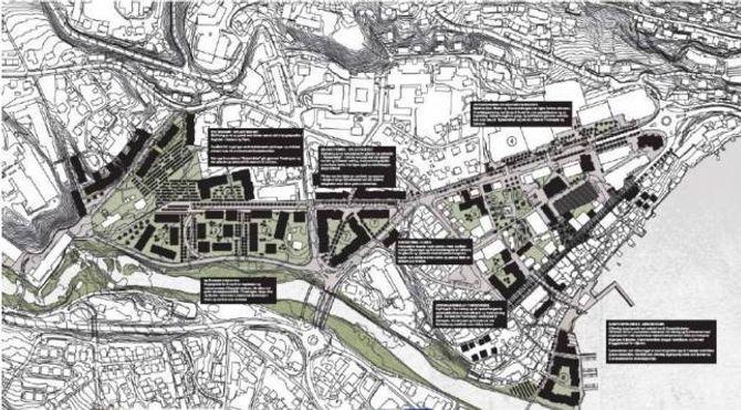 SKAL BLI EITT: Ved å skape nye bygg, nye vegar og ny aktivitet i området mellom Fosshaugane og sentrum, er tanken at dei to etter kvart skal smelte saman. Illustrasjon: Stiv kuling/Sogndal kommune.
