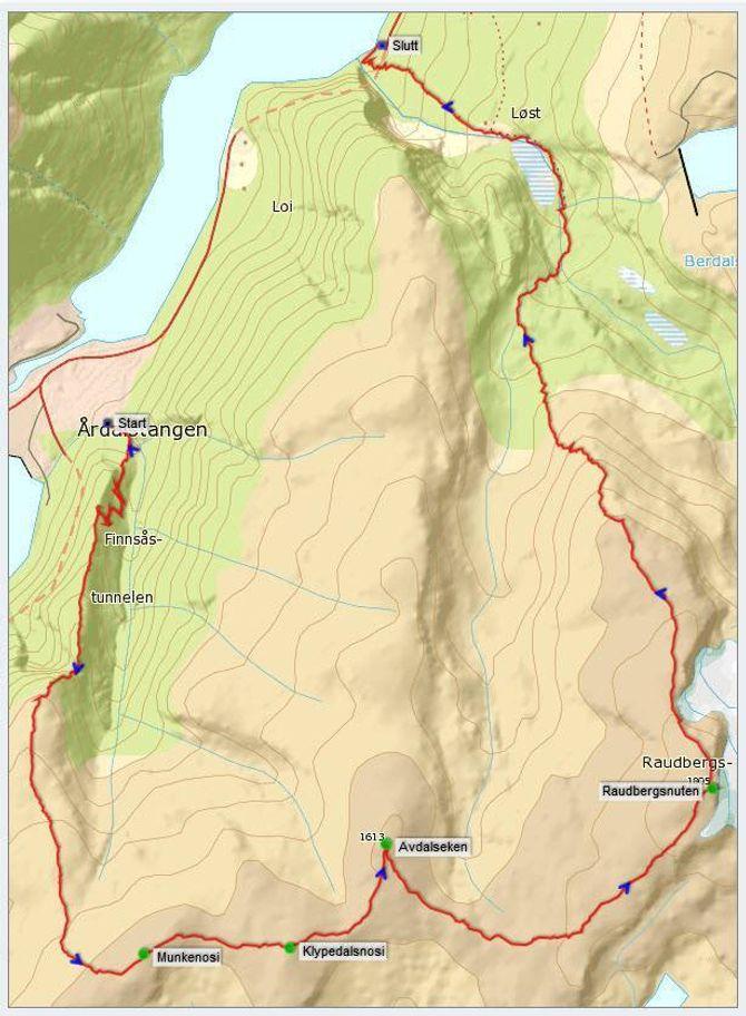 Kart: Statkart via Peakbook.org med innlagt GPS-spor av J. Asperheim.