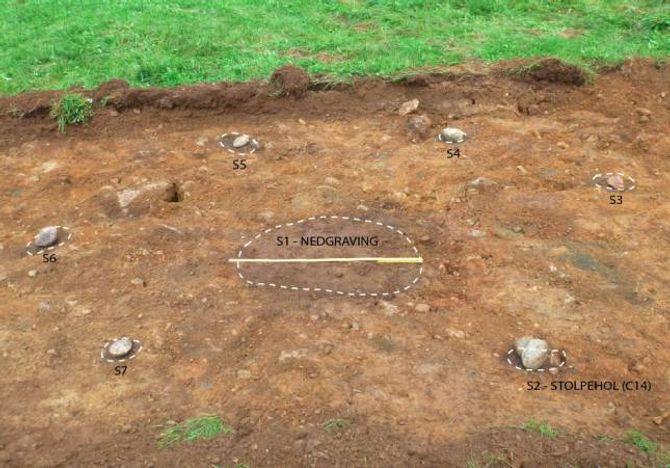 SJELDAN BYGNING: På Hagen fann arkeologane restar av ein rund bygning frå yngre bronsealder. Bygningar av denne typen er sjeldne.