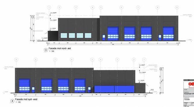 FUNKSJONELT: Teikningane av fasadane gir eit inntrykk av korleis det heile blir sjåande ut. Illustrasjon: Rasmussen Eiendom.