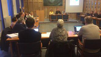 FÅ HENDER: Då kommunestyret skulle stemme over mistillitsforslaget til var Høgre sine fire representantar dei einaste som stemte for.
