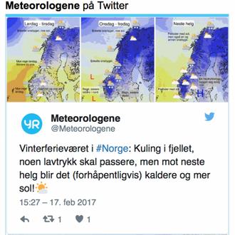 BETRE: Meteorologane twitrar om von om betre vêr utover i haustferien. Skjermdump frå yr.no