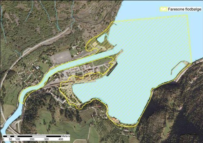 MINDRE FARE: Grundige analysar syner at faresona for ei flodbølgje ved eit ras i Joasetbergi er betydeleg mindre enn ein først trudde.