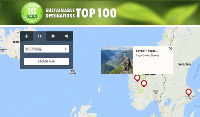 EKSKLUSIV: Berre Geilo og Svalbard har fått same status i Noreg. Merket oppe til venstre i biletet er provet på statusen og noko verksemder i Lærdal no kan nytta i marknadsføringa. Skjermdump: Green Destinations