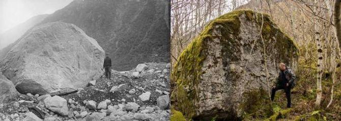 STORE ENDRINGAR: I 1899 var det 77 meter frå denne steinblokka til brekanten på Store Supphellebreen i Fjærland. No har avstanden auka med over 300 meter. Biletet til venstre statsgeolog John Bernhard Rekstad som oppretta merket for å måla avstanden til breen. T.h.fagansvarleg Pål Gran Kielland ved Norsk bremuseum.