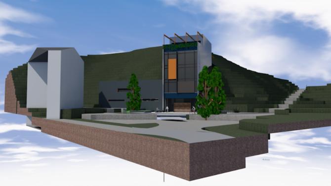 MODERNE FRAMTONING: Her er ein 3d-modell av det same studenthuset. Illustrasjon: SISOF/Arkitektkontoret 4B.