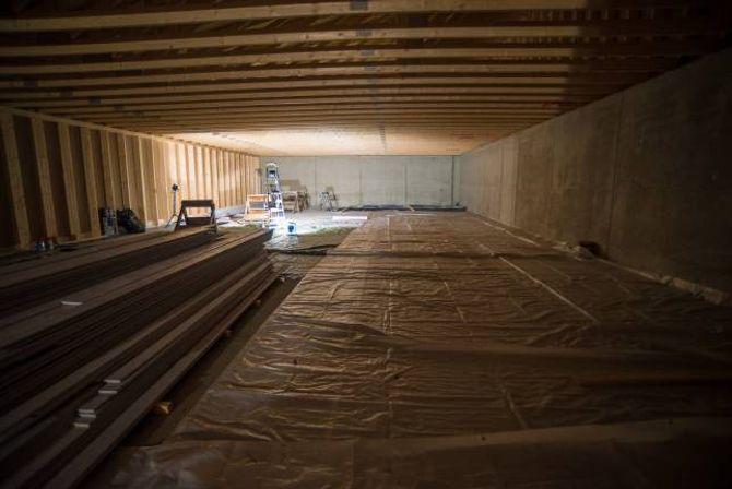 NY LEIKEGRIND: Skytebana tek opp omlag halve arealet i huset. Her vil det komme ei 15-metersbane med ti elektroniske skiver.