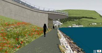 UNDER BRUA:Statens vegvesen står for siste innspurt av fjordstien i samband med bygginga av den nye Loftesnesbrui. Rundkøyringa i forkant av brua vil delvis henge over gangstien.