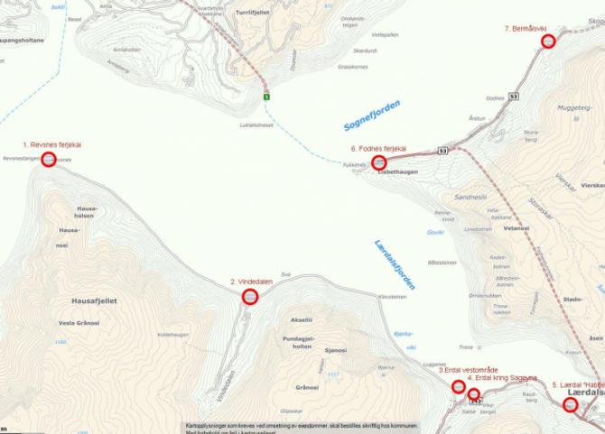 ALTERNATIVA: Kart frå kaiutgreiinga som syner dei ulike lokasjonane som er vurderte. Kart: Lærdal kommune