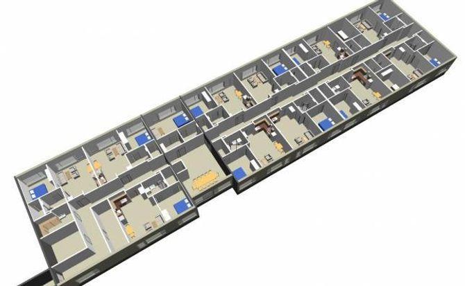 12 ROM: 3D-teikning av fløyen med dei nye omsorgsbustadene. Skisse. Meto Pro