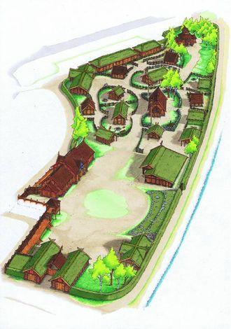ARBEIDSTEIKNING: Omtrent slik vil Njardarheimr sjå ut når den er fullt utbygd.