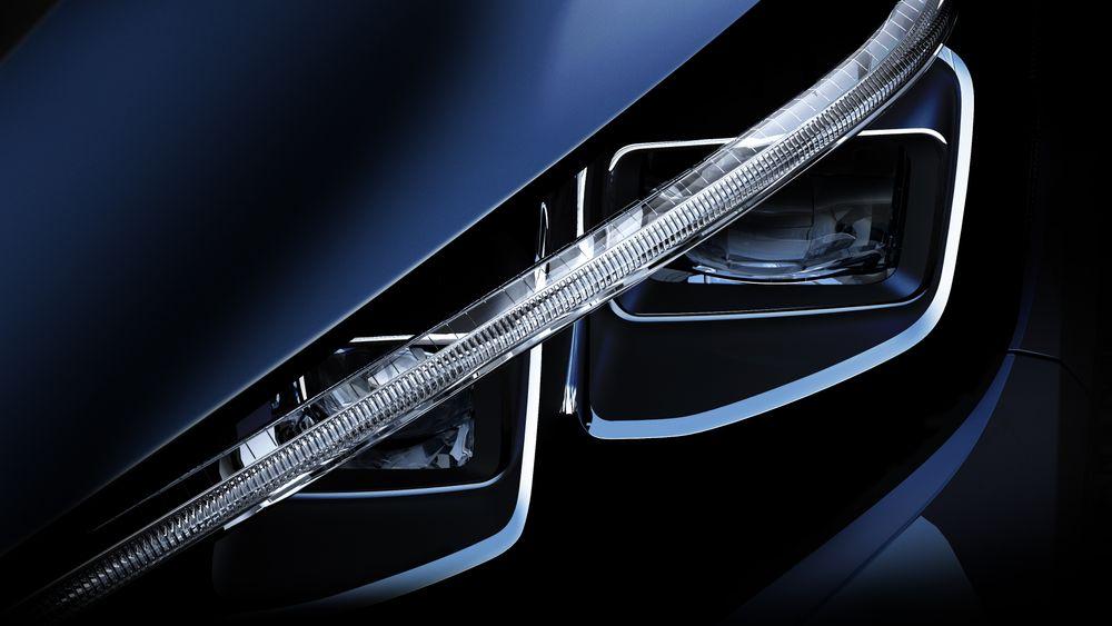 Bilde av frontlykten på neste generasjon Nissan Leaf.