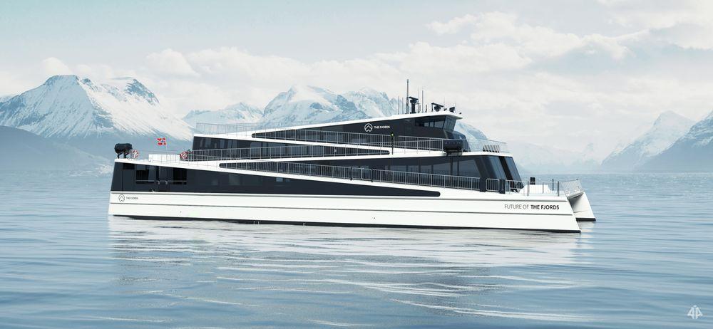 Det helektriske skipet «Future of the Fjords» skal være klart i 2018. Illustrasjon: The Fjords