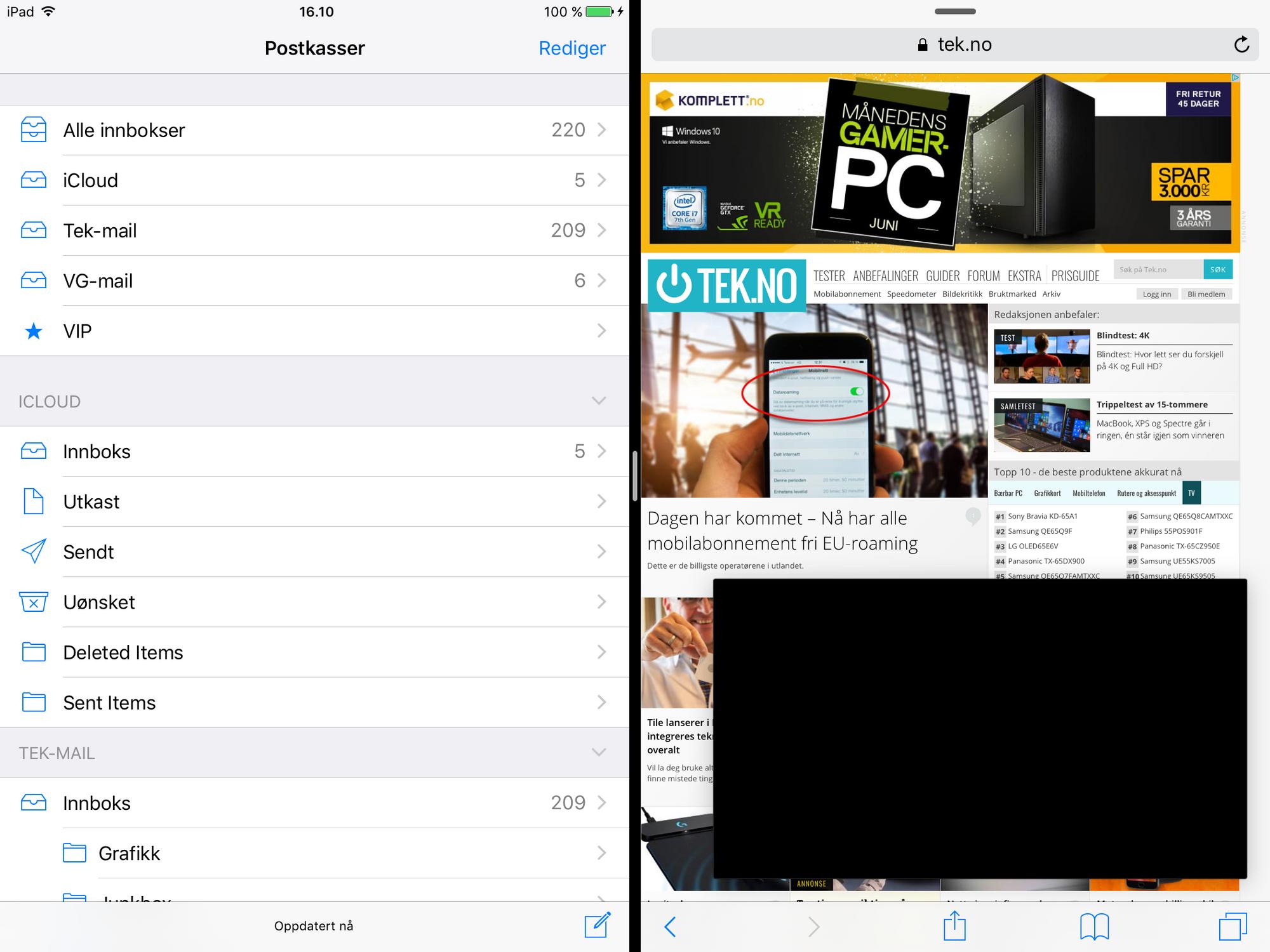 1f5368d6 En del multitaskingelementer har kommet inn i iOS alt. Du kan ha to apper  side om side og videoavspilling kan foregå i en boks som flyter rundt på  skjermen.