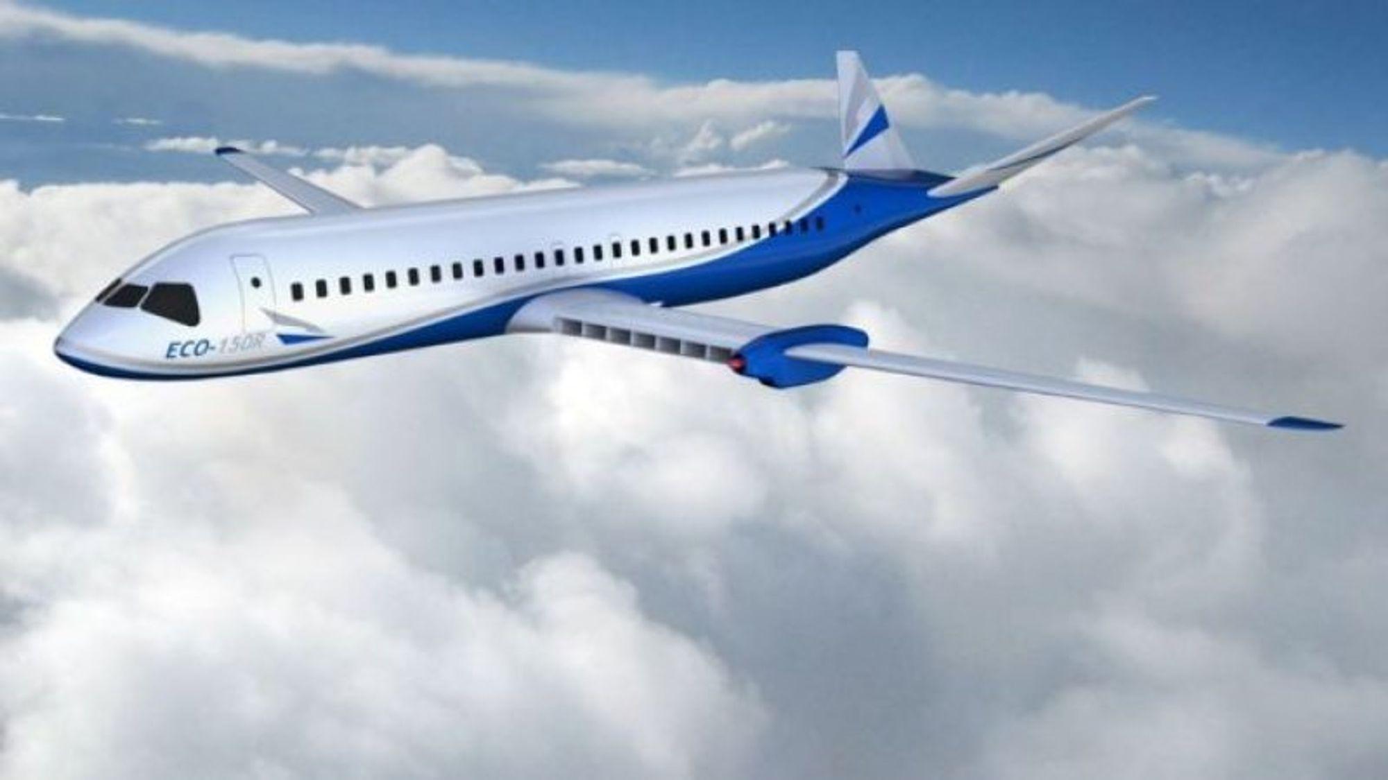 Om 20 år kan et elektrisk fly med plass til 150 passasjerer se slik ut. Rekkevidden vil være like under 500 kilometer, som er nok til å betjene en tredjedel av alle verdens nåværende flyruter.
