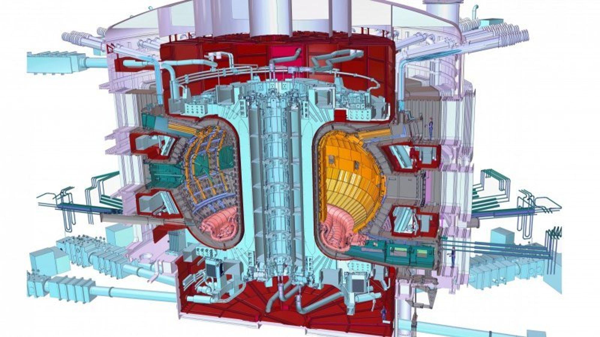 Iter er basert på tokamak-prinsippet, hvor kjerner av deuterium og tritium fusjonerer i et vakuum-kammer til heliumkjerner og frie nøytroner under utslipp av energi – holdt på plass av et kraftig magnetfelt dannet med superledende spoler.