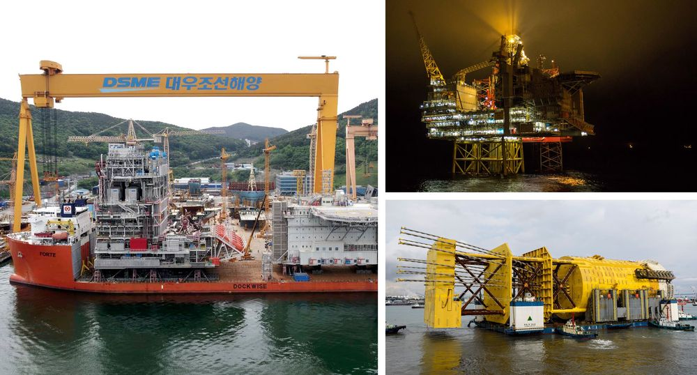Mariner, Gina Krog og Aasta Hansteen er alle Statoil-prosjekter bygget ved verft i Asia. Til venstre er Mariner ved DSME-verftet i Sør-Korea.