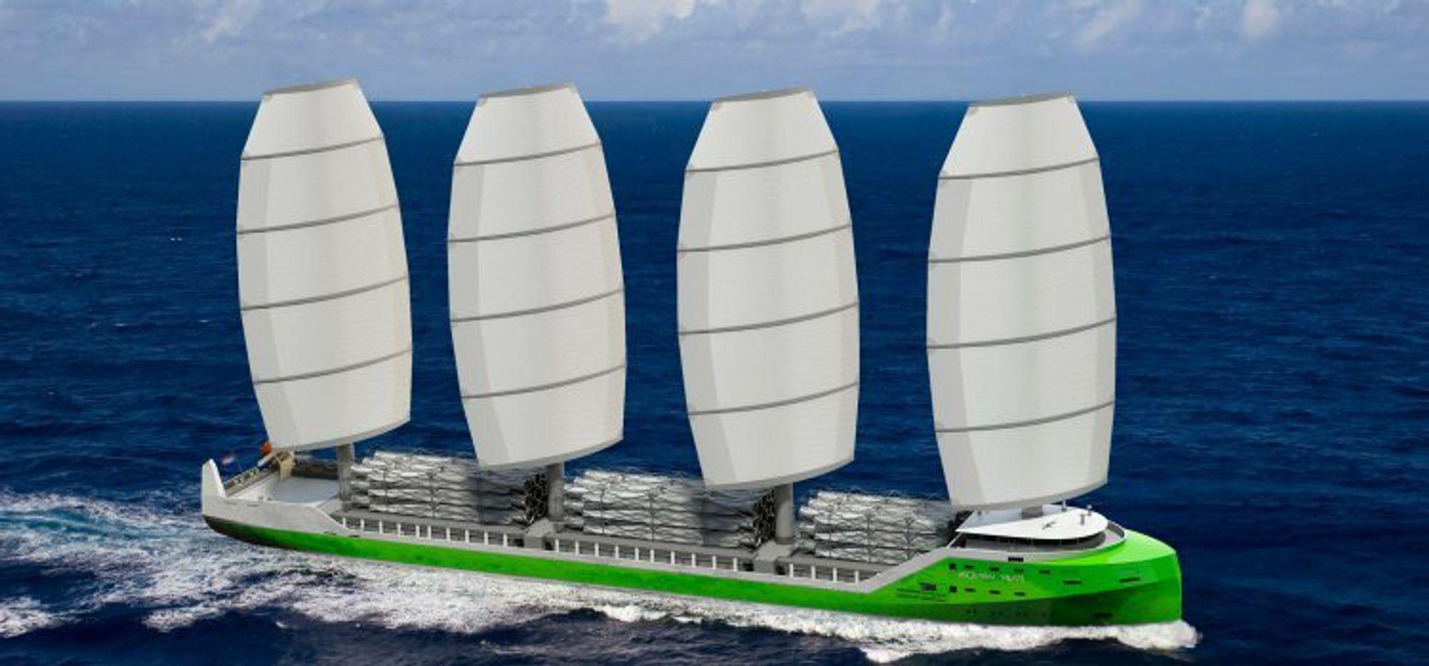 Et firemastet frakteskip hvor mastene er satt opp i en såkalt DynaRig som gjør at seilene kan fjernstyres elektronisk. De kan settes eller reves på syv minutter.